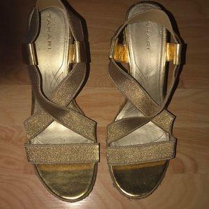 tahari gold wedge sandals